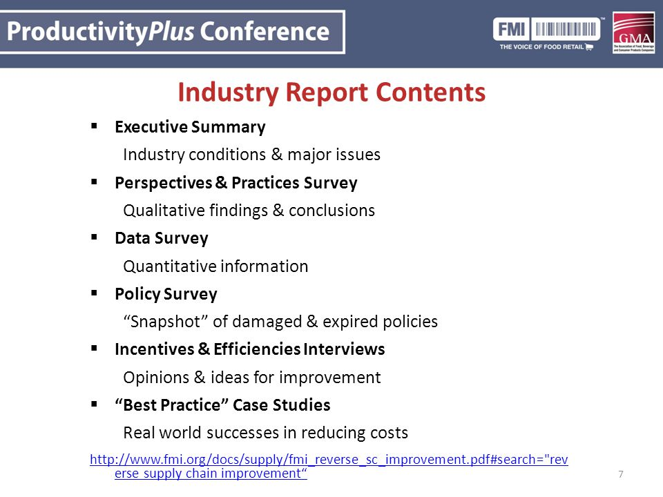 Industry Report Contents