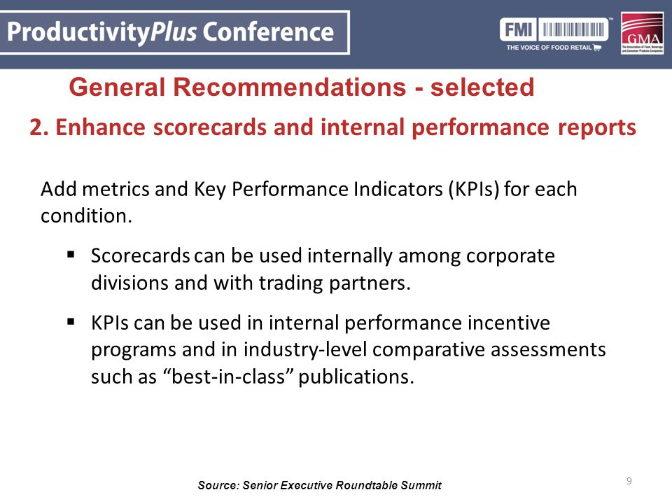 2. Enhance scorecards and internal performance reports