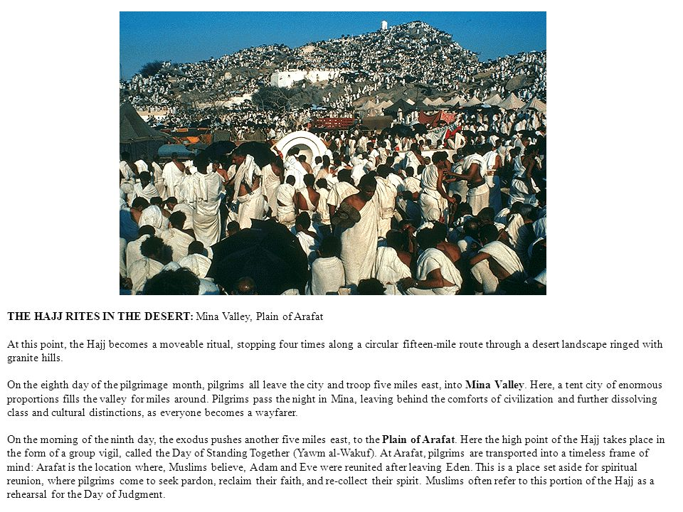 THE HAJJ RITES IN THE DESERT: Mina Valley, Plain of Arafat At this point, the Hajj becomes a moveable ritual, stopping four times along a circular fifteen-mile route through a desert landscape ringed with granite hills.