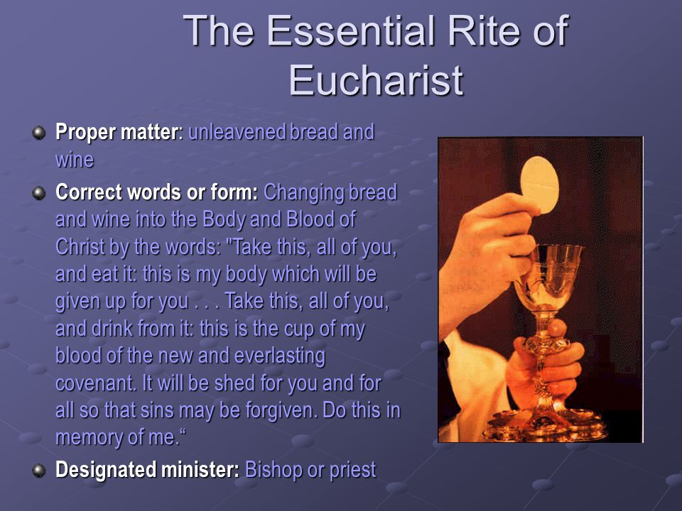 The Essential Rite of Eucharist