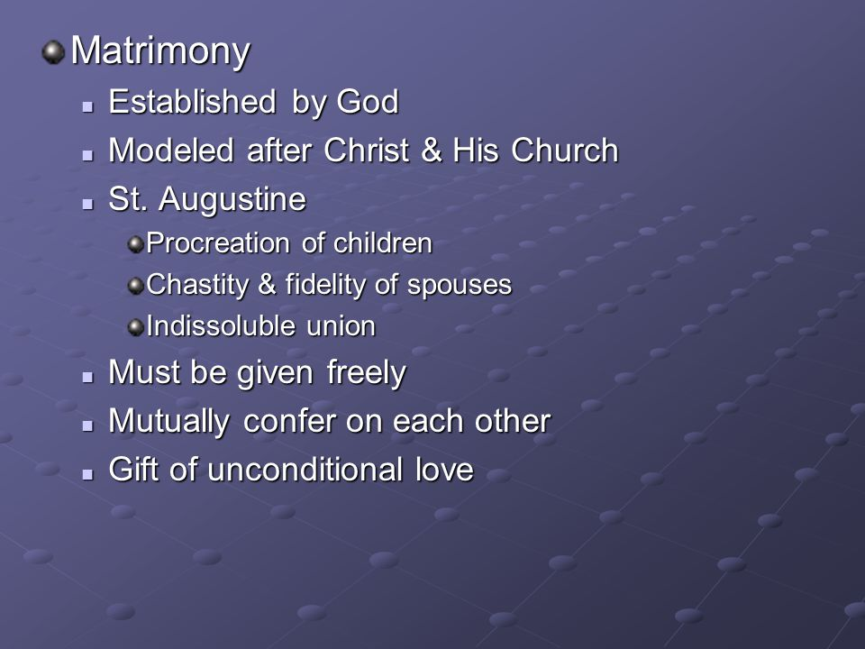 Matrimony Established by God Modeled after Christ & His Church