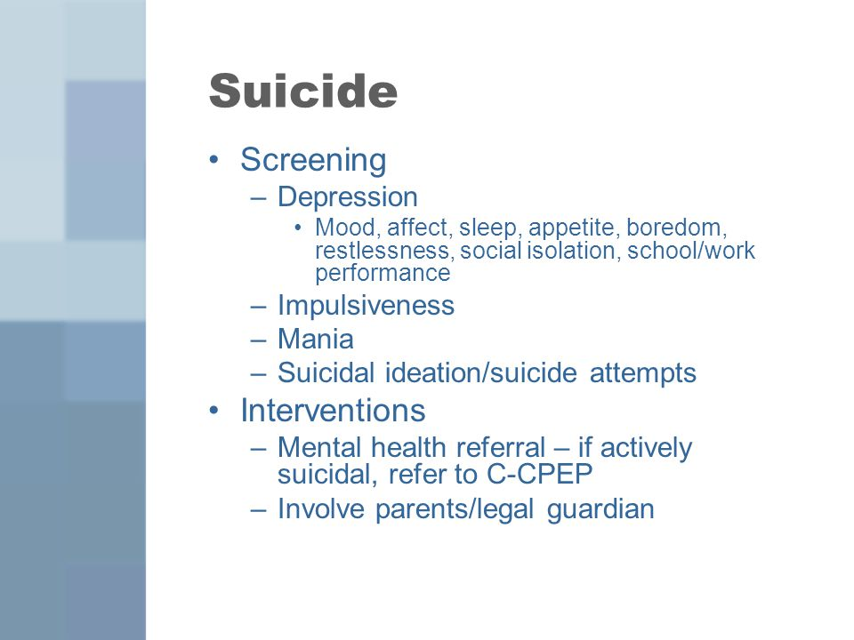 Suicide Screening Interventions Depression Impulsiveness Mania