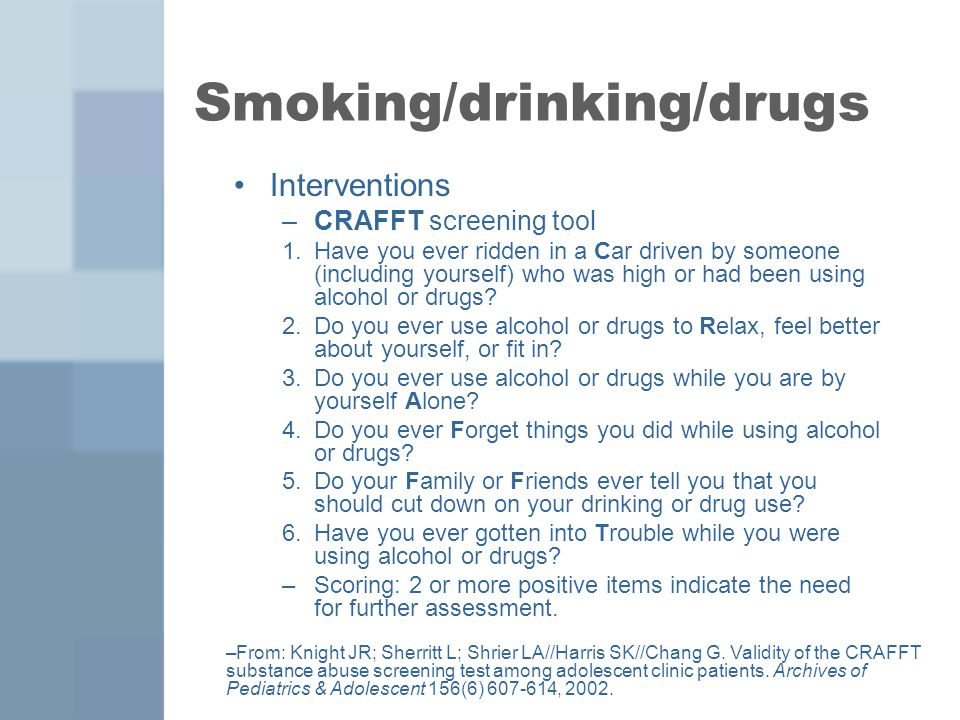 Smoking/drinking/drugs