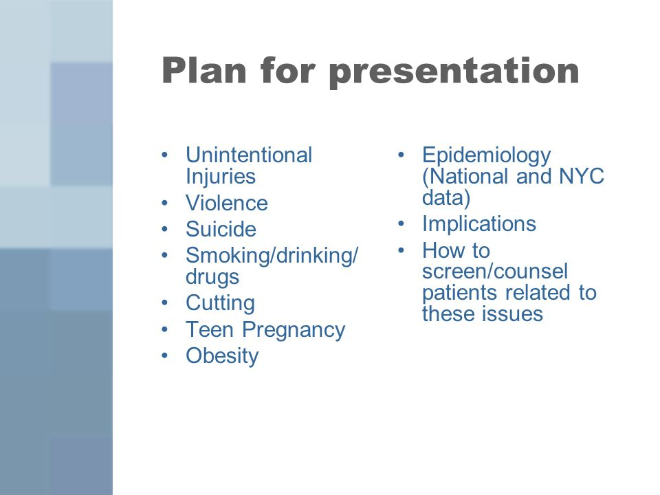 Plan for presentation Unintentional Injuries Violence Suicide