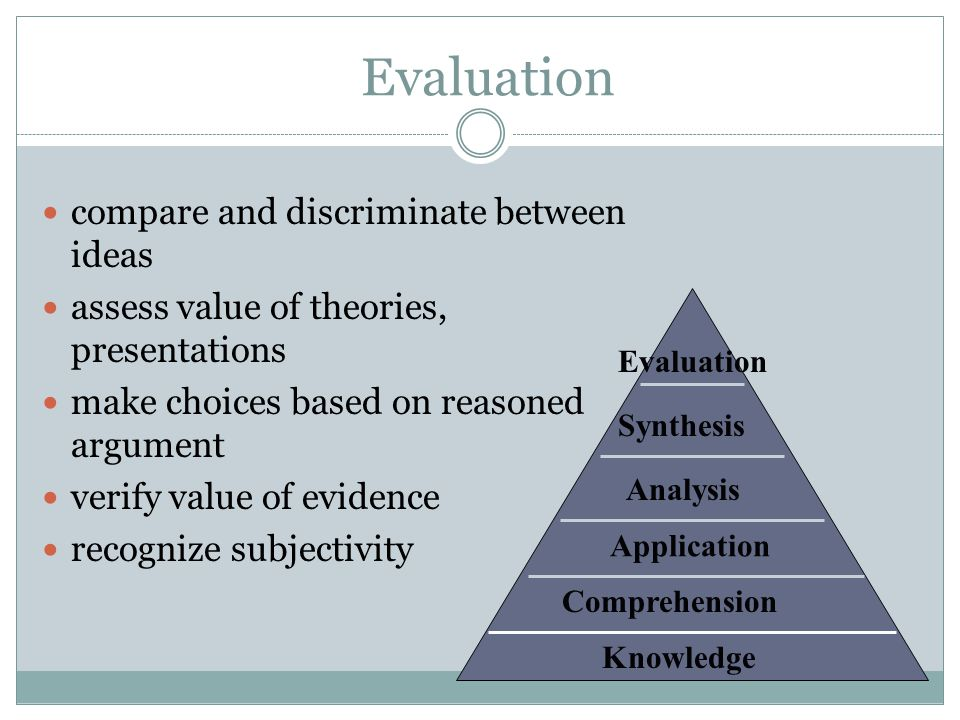 Evaluation compare and discriminate between ideas