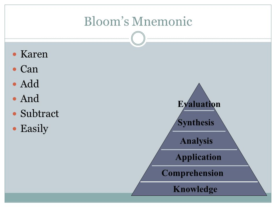 Bloom's Mnemonic Karen Can Add And Subtract Easily Evaluation