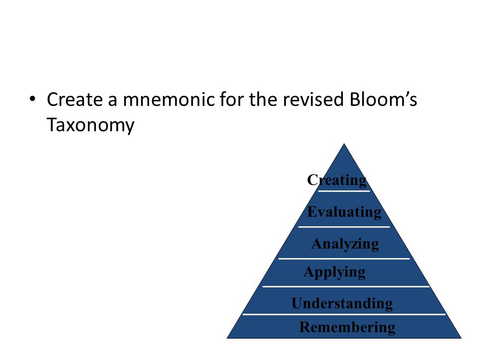 Create a mnemonic for the revised Bloom's Taxonomy