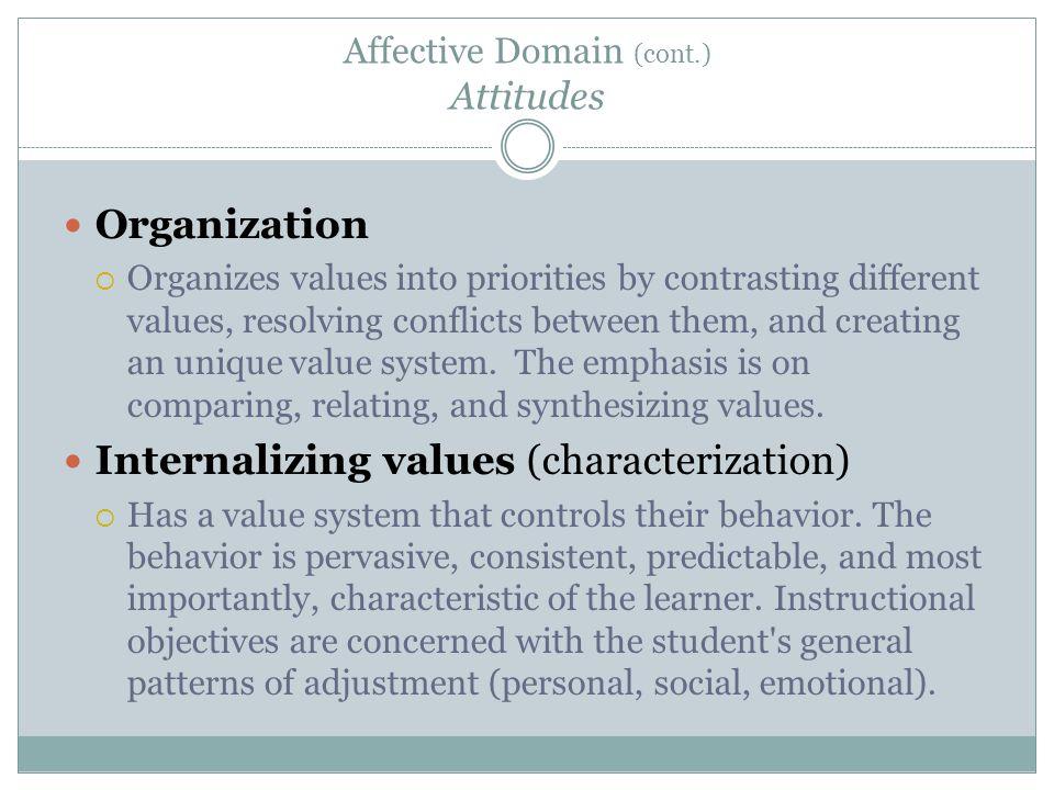 Affective Domain (cont.) Attitudes