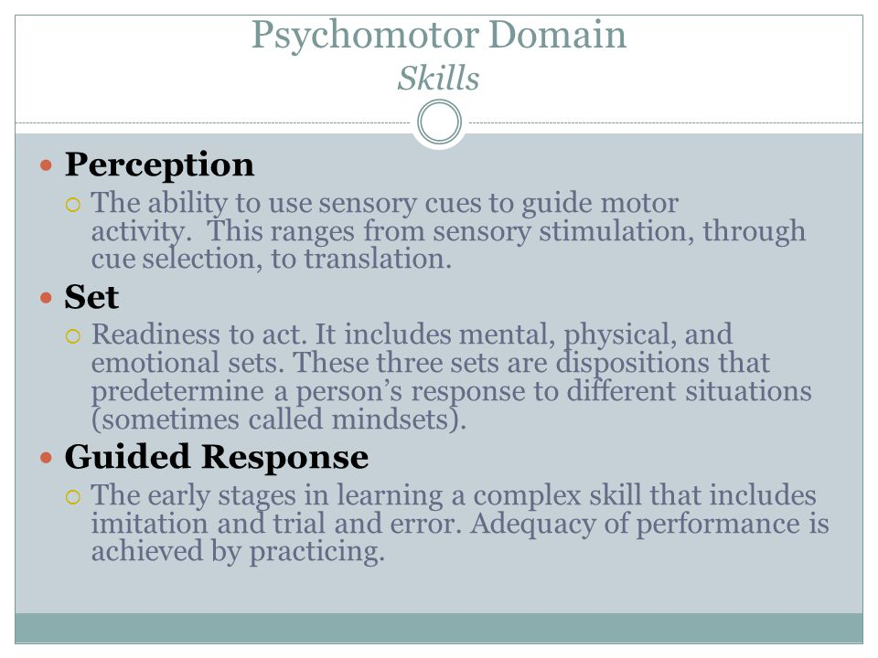 Psychomotor Domain Skills