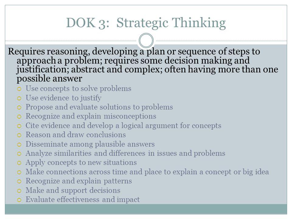 DOK 3: Strategic Thinking