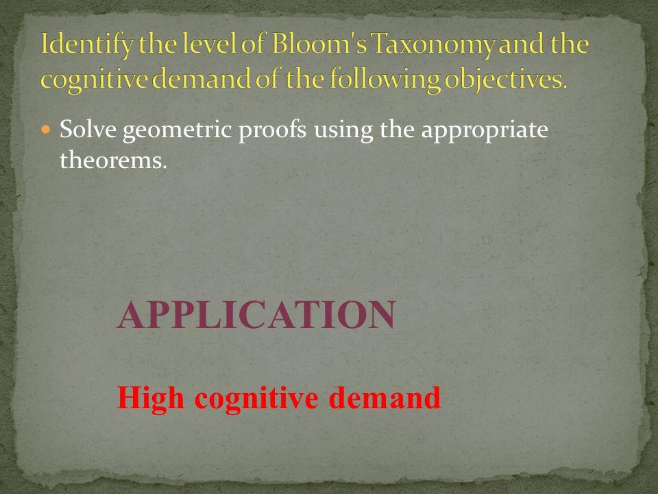 APPLICATION High cognitive demand