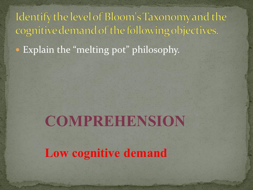 COMPREHENSION Low cognitive demand
