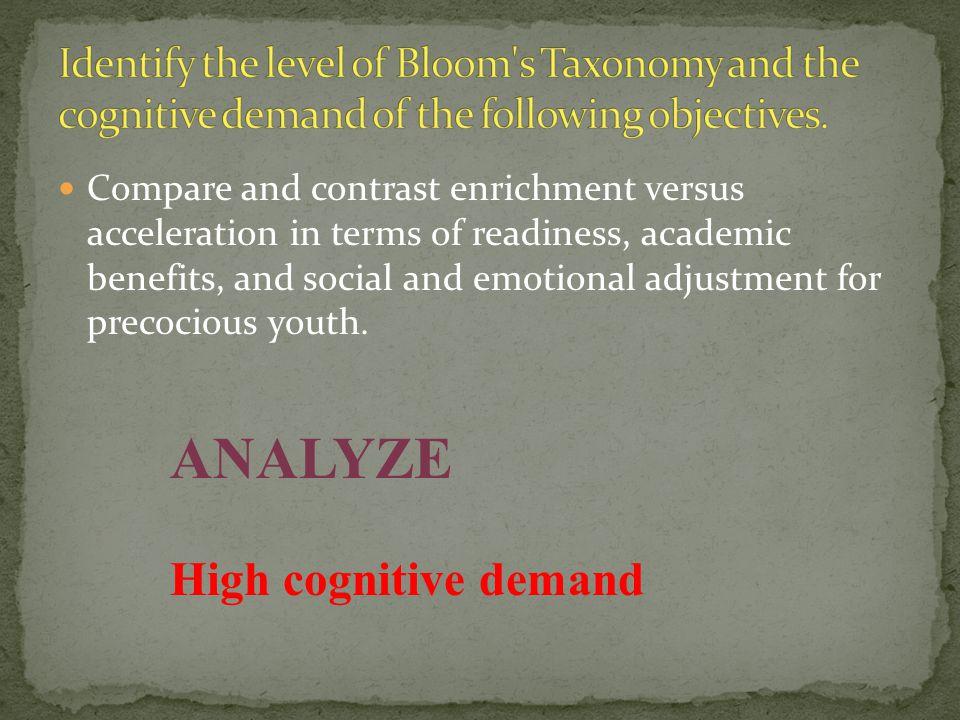 ANALYZE High cognitive demand