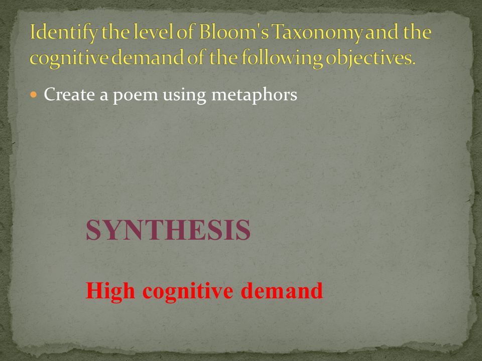 SYNTHESIS High cognitive demand
