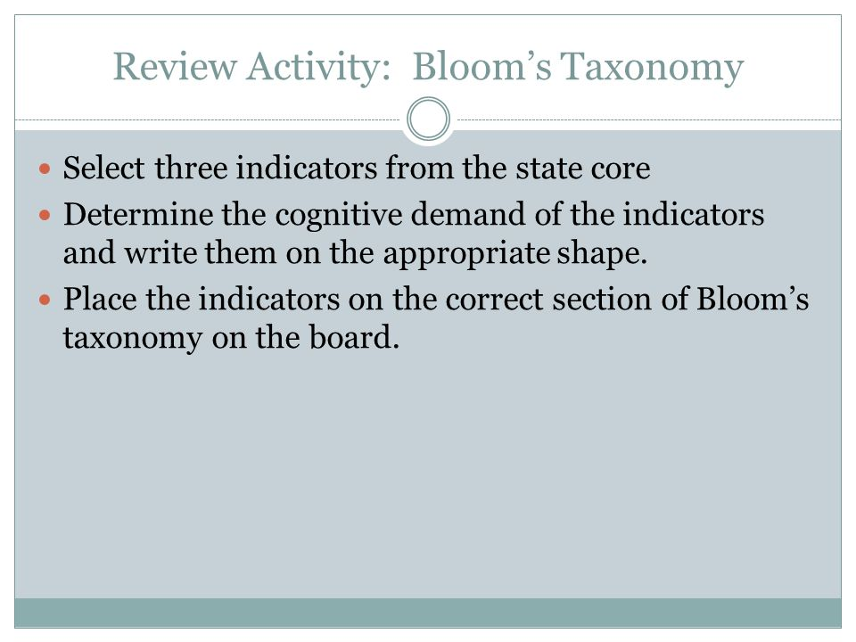 Review Activity: Bloom's Taxonomy
