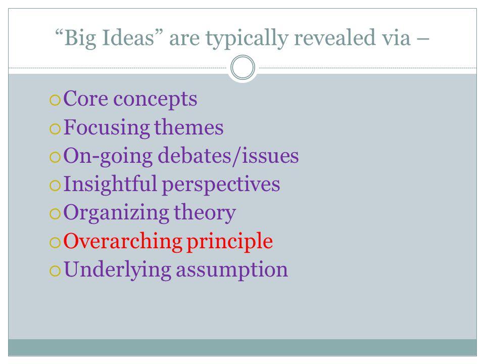 Big Ideas are typically revealed via –