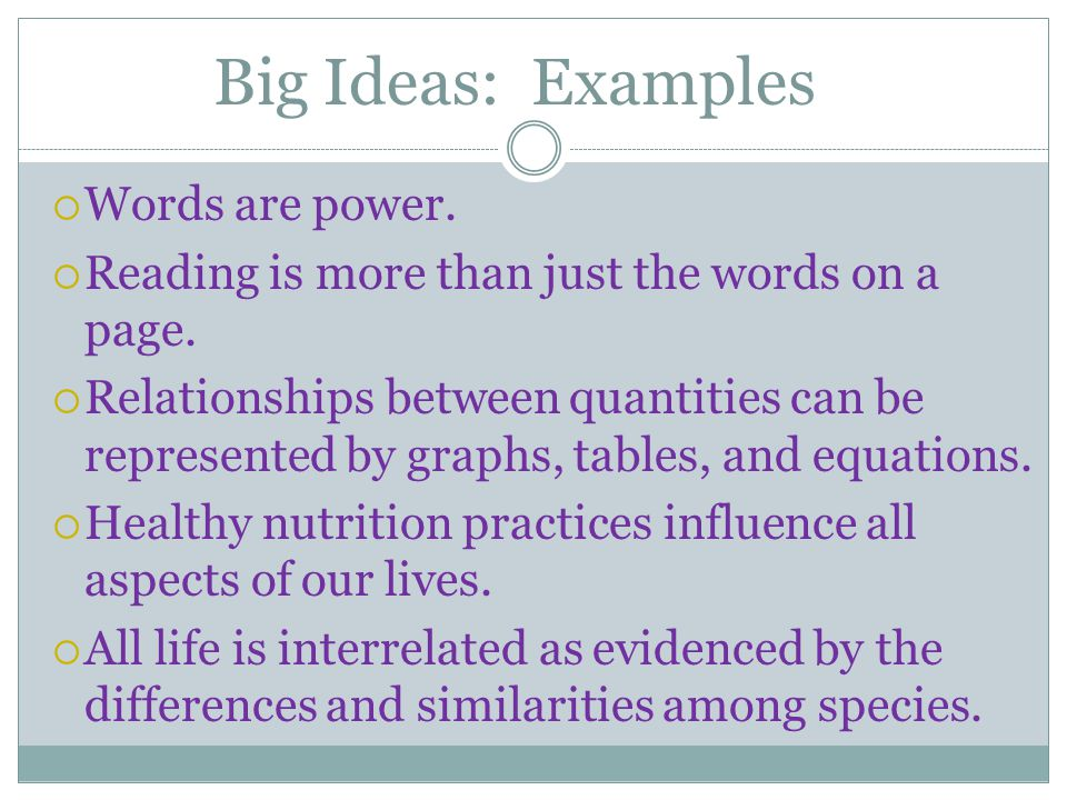 Big Ideas: Examples Words are power.