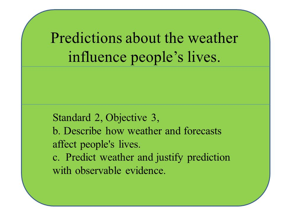 Predictions about the weather influence people's lives.