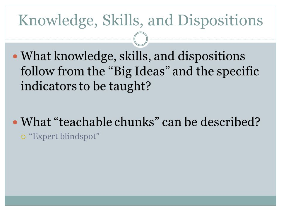 Knowledge, Skills, and Dispositions