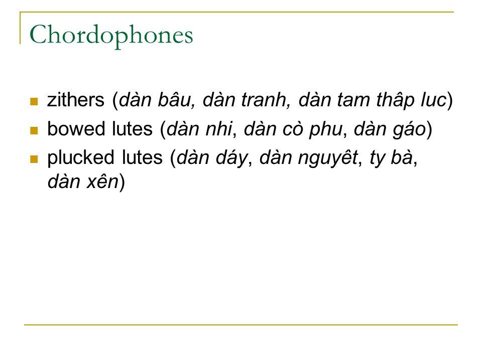 Chordophones zithers (dàn bâu, dàn tranh, dàn tam thâp luc)