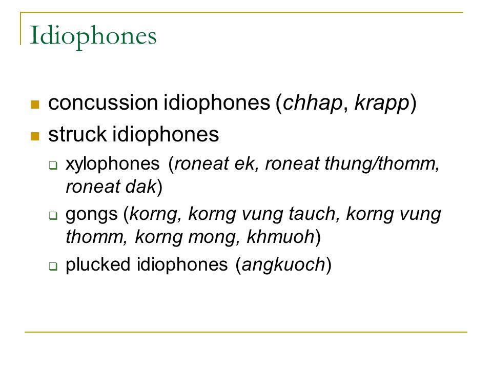 Idiophones concussion idiophones (chhap, krapp) struck idiophones