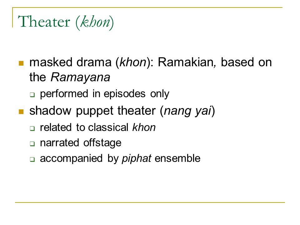 Theater (khon) masked drama (khon): Ramakian, based on the Ramayana