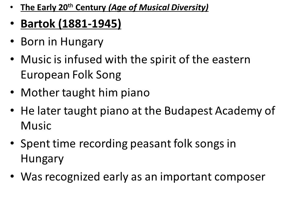 Music is infused with the spirit of the eastern European Folk Song