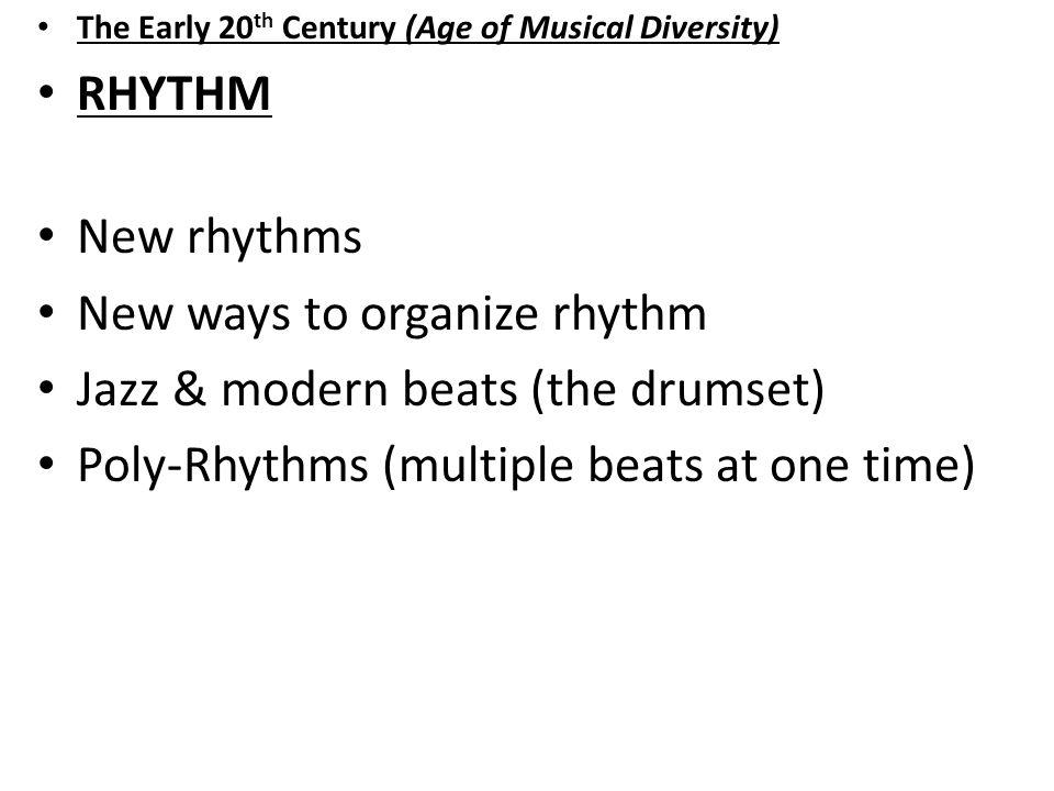 New ways to organize rhythm Jazz & modern beats (the drumset)