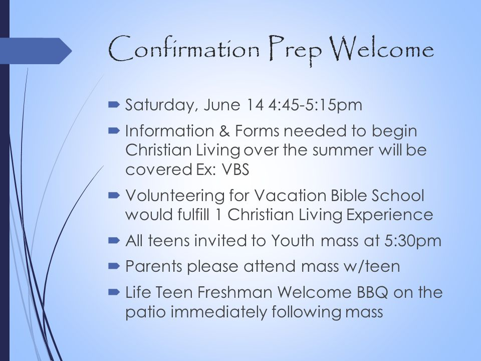 Confirmation Prep Welcome