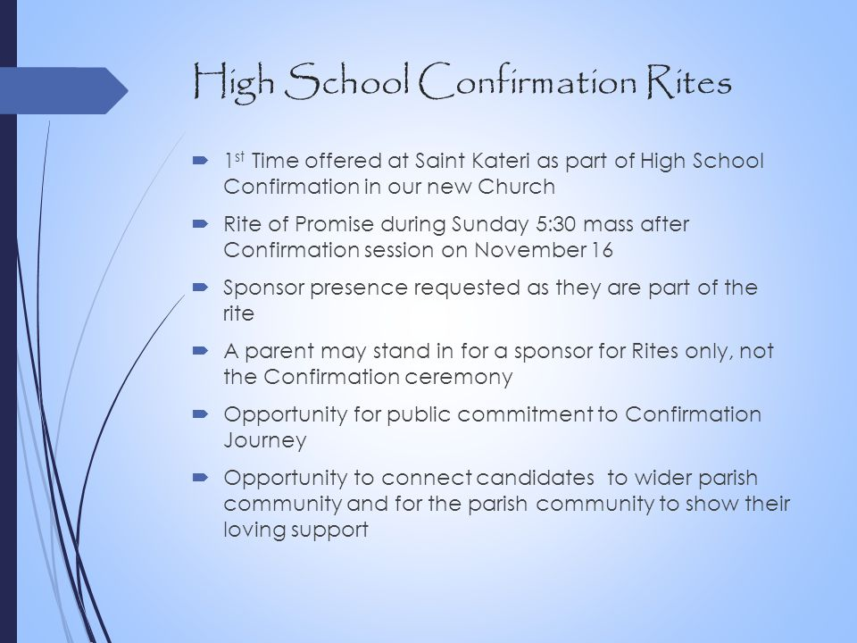 High School Confirmation Rites