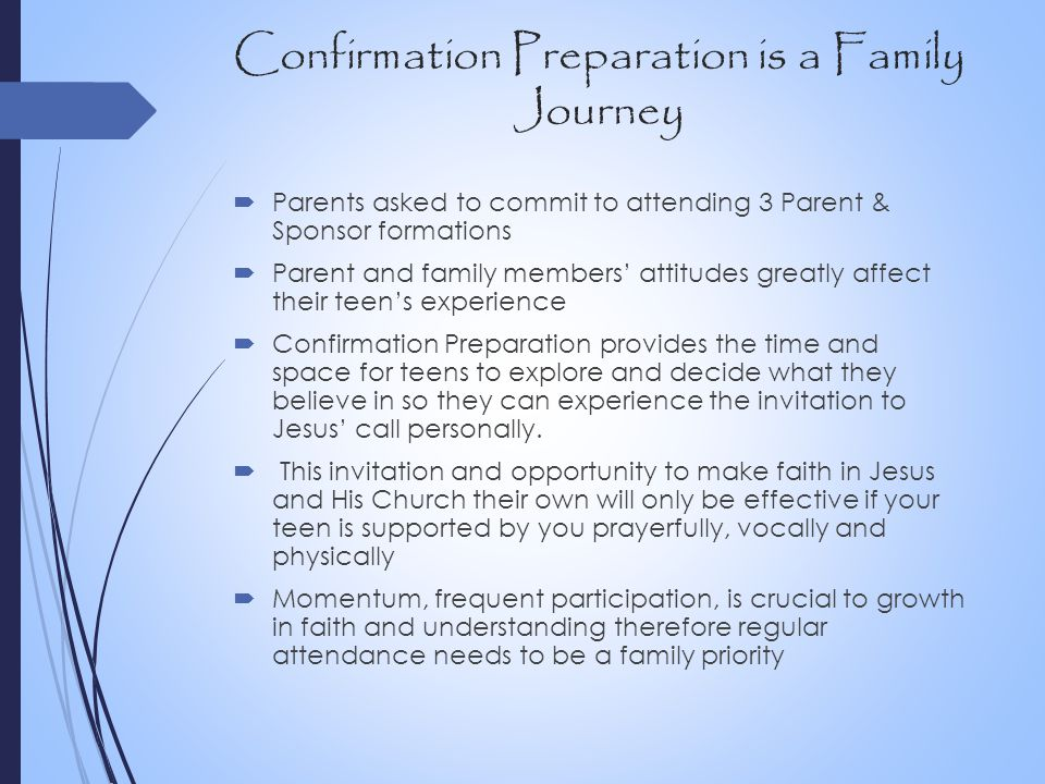 Confirmation Preparation is a Family Journey