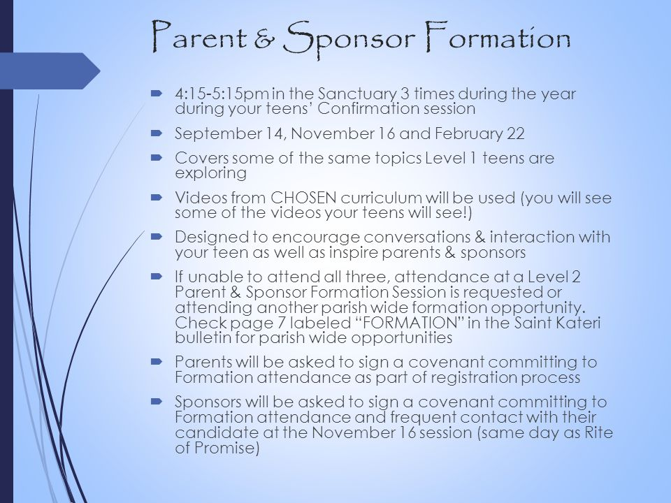 Parent & Sponsor Formation