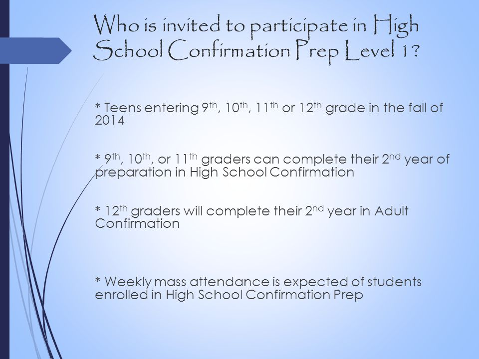 Who is invited to participate in High School Confirmation Prep Level 1