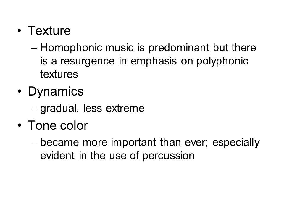 Texture Dynamics Tone color