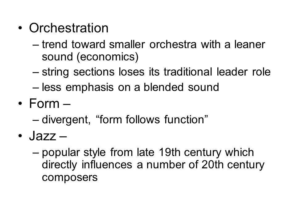 Orchestration Form – Jazz –
