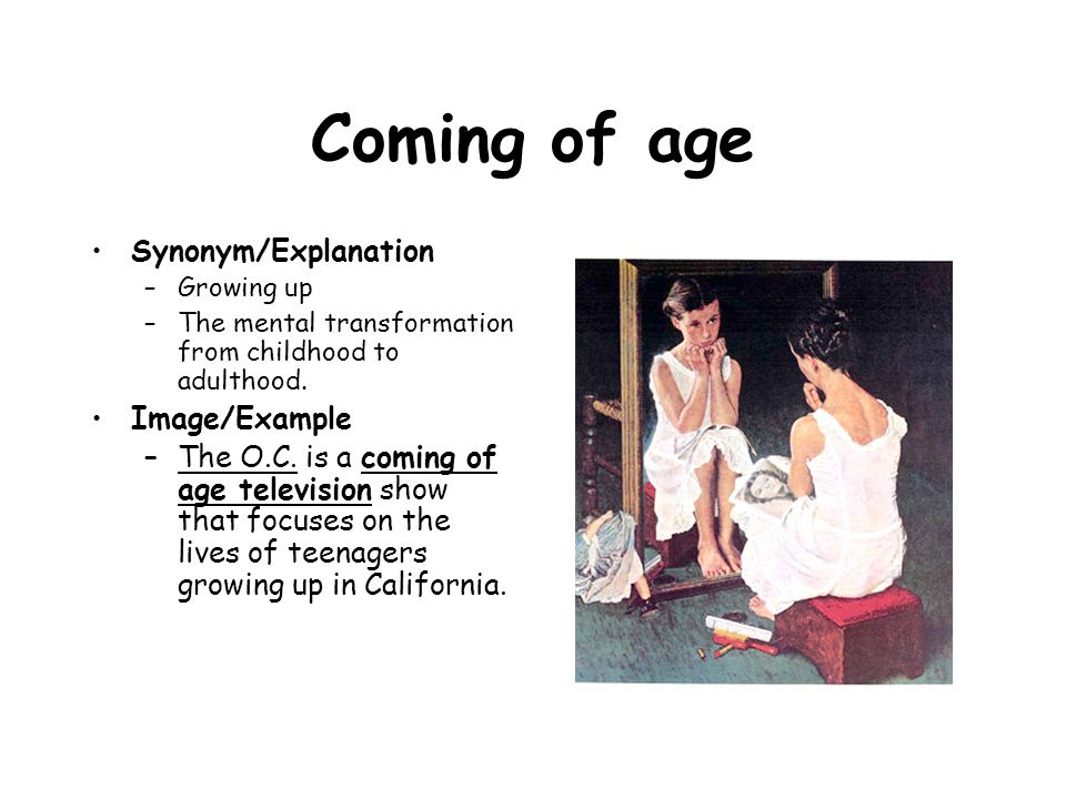 Coming of age Synonym/Explanation Image/Example