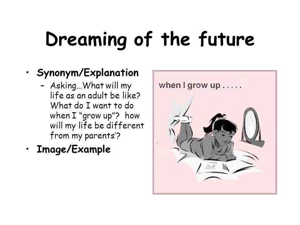 Dreaming of the future Synonym/Explanation Image/Example