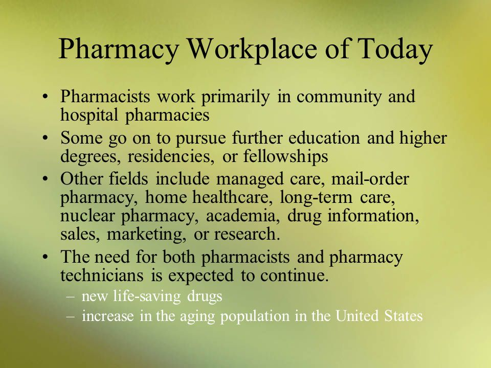 Pharmacy Workplace of Today