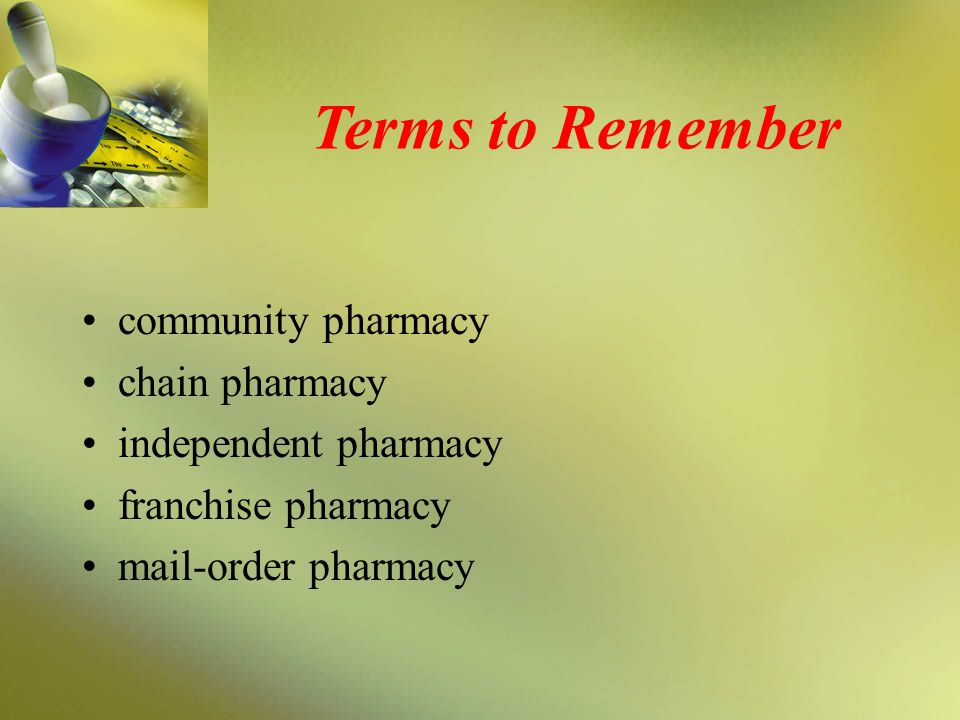 Terms to Remember community pharmacy chain pharmacy