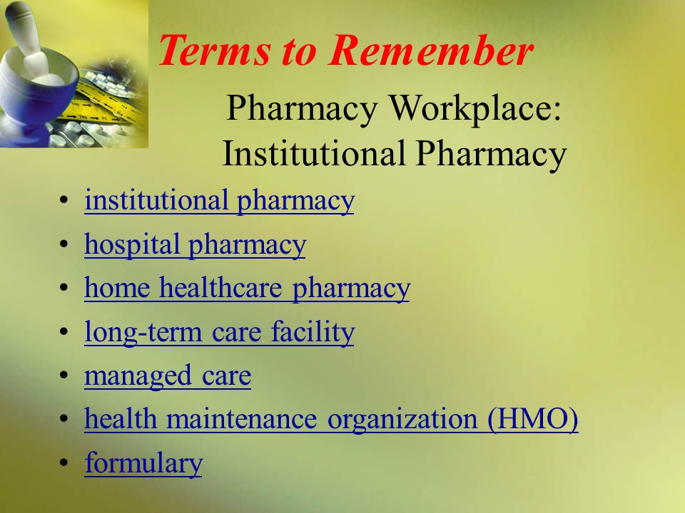 Institutional Pharmacy