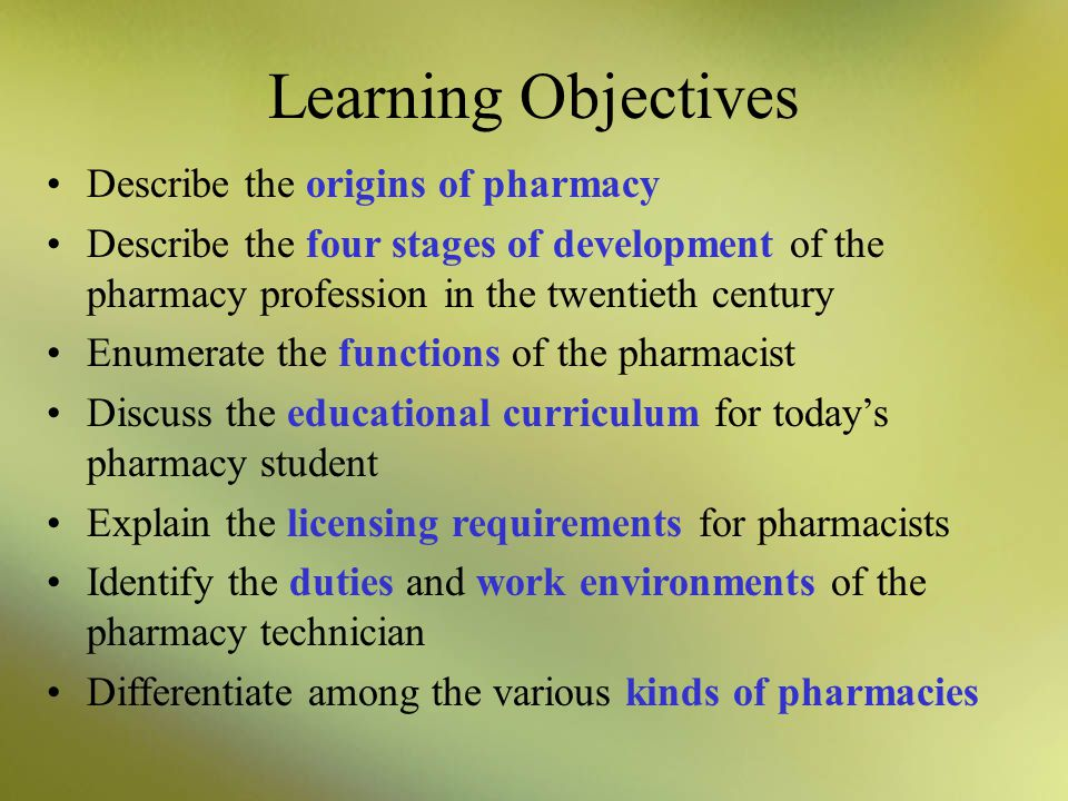 Learning Objectives Describe the origins of pharmacy