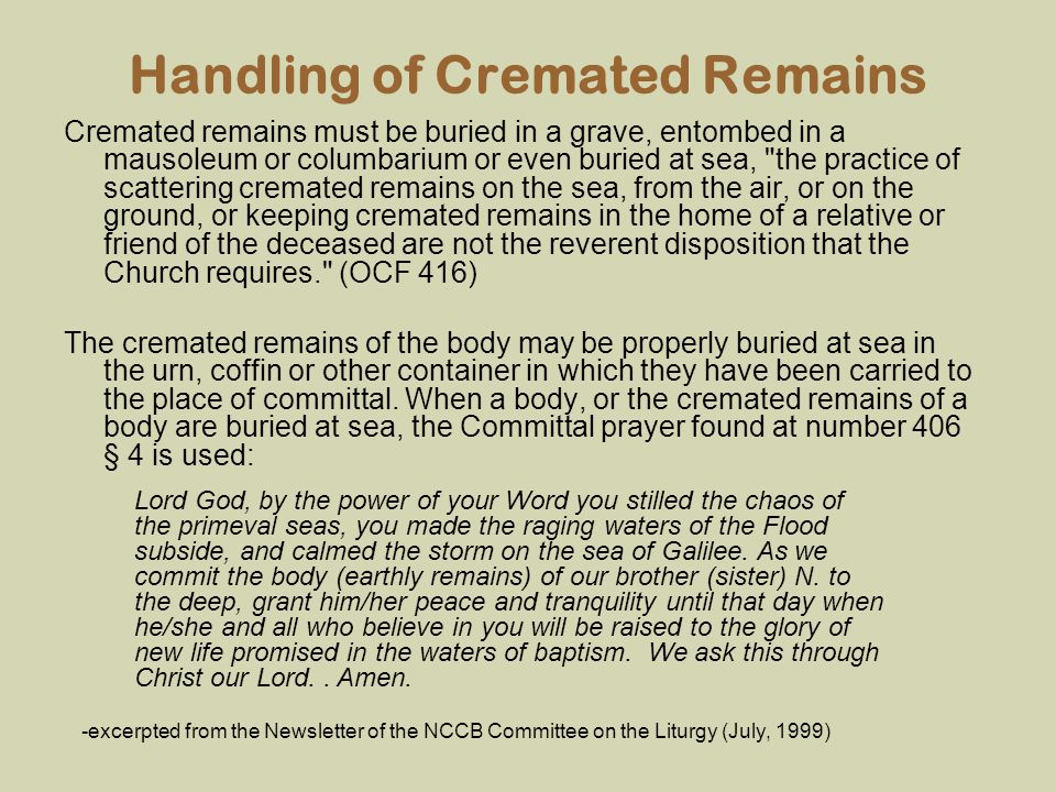 Handling of Cremated Remains