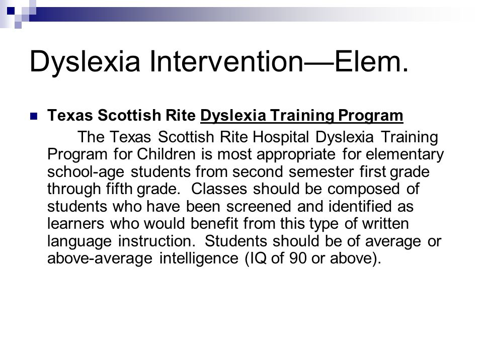 Dyslexia Intervention—Elem.