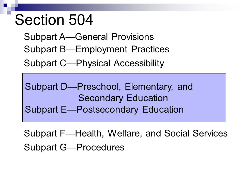 Section 504 Subpart A—General Provisions
