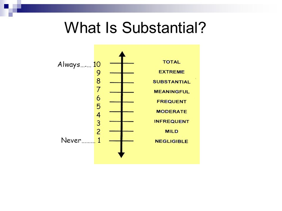 What Is Substantial Always….… 10 9 8 7 6 5 4 3 2 Never……… 1