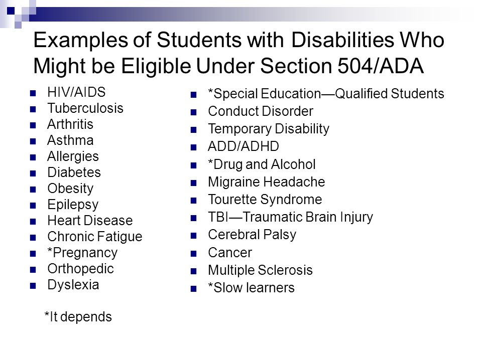 Examples of Students with Disabilities Who Might be Eligible Under Section 504/ADA