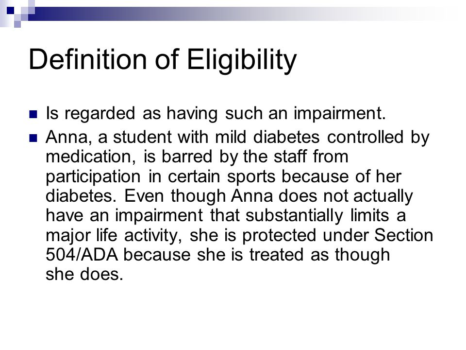 Definition of Eligibility