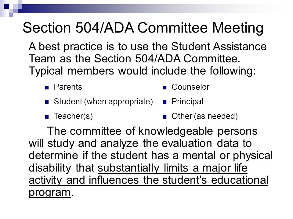 Section 504/ADA Committee Meeting