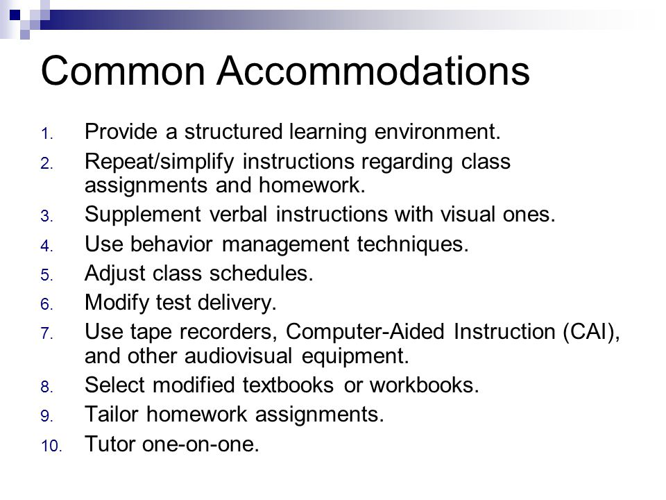 Common Accommodations