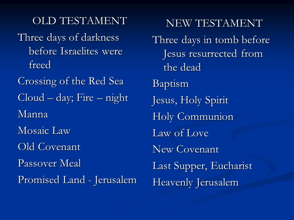 OLD TESTAMENT Three days of darkness before Israelites were freed. Crossing of the Red Sea. Cloud – day; Fire – night.